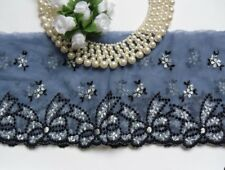 """4-1/2"""" Smoke Blue/ Black Embroidered Bows Flowers Net Lace Edge Trim-1 Yard-T760"""