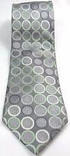 MICHAEL KORS Men's Silk Tie Gray Silver Mint Circles Geometric 60Lx3.5W