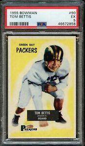 1955 Bowman FB Card # 90 Tom Bettis Green Bay Packers ROOKIE CARD PSA EX 5 !!!
