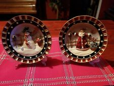 Country Christmas Snowman And Santa 4pc Plate Set