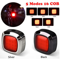 USB Chargeable 16 COB Bike Back Rear Tail Light Lamp Safety Flashing Warning Red