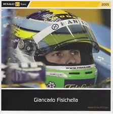 Giancarlo Fisichella Un Signed Promo Card - Renault F1.