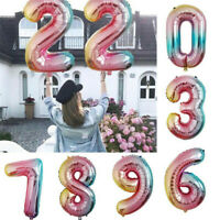 Foil Number Happy Birthday Balloons Colorful Gradient Color Banner Party Decor