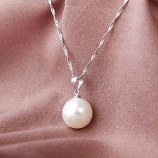 damen Weiße Perle halskette Tropfen Anhänger Silber collier Schmuck Geschenk