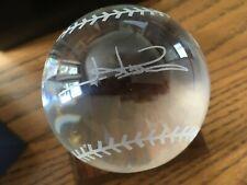 High Quality Crystal Baseball Paperweight Cmco Jim Abbott Signature Oleg Cassini