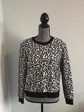 REBECCA TAYLOR Black White Animal Print Long Sleeve Sweater Top Size M NEW