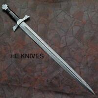 BEAUTIFULL HUNTEX CUSTOM 30 inches  Damascus Steel SWORD with leather sheath