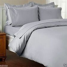 Duvet Set + Fitted Sheet Super King Size Silver / Light Gray Solid 1000 TC