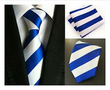Blue White Tie and Pocket Square Set Stripe Pattern Handmade 100% Silk Wedding