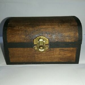 Small Rustic Wooden Chest jewellery box 14x9.3x8 Cm
