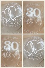 Clear Printed 30th HEART PEARL WEDDING ANNIVERSARY BALLOONS / Decorations x 10