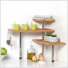 Étagère d'angle en bambou et inox - Cuisine Salle de bain bureau Chambre Salon