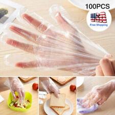100 PCS Clear Polythene Gloves Plastic Disposable Food Safe Glove