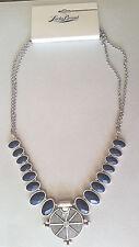 NWT  Lucky Brand  Necklace Silver Tone Navy Blue Semi Precious  Stones JLD1215