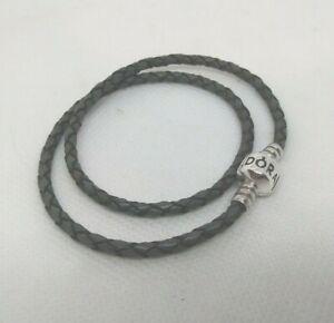 Authentic PANDORA Double Wrap GRAY Leather BRACELET 13.89 In. #590725CGY-D1