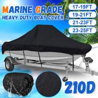 210D Trailerable Boat Cover Marine Grade Waterproof V-hull Heavy Duty 17~25