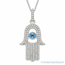 Evil Eye Hand of God Fatima Judaica Hamsa Kabbalah Charm Pendant Silver Necklace