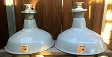 2 x Vintage Industrial Benjamin Enamel Ceiling Lamp Shades - Old Pendant Light