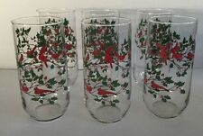 Red Cardinals Bird Holly Berries Glassware Christmas Drinking Holiday lot of 6