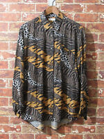 VTG 100% Silk sz L Collared Blouse Button Animal Print Zebra Leopard Brown Tan