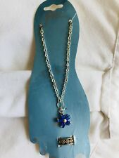 Anklet And Matching Toe Ring Silver Sunflowers Blue Flower Gem Stone