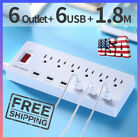 6USB 1.8M Power Strip Surge Protector 6 Outlets 6 Smart USB Charging Ports