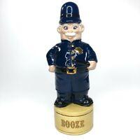 Vintage Booze Whiskey Decanter Blue Police Cop Bottle Distillery Bottle Empty