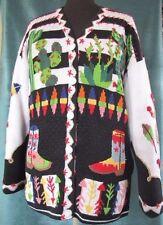 Berek 2 Cardigan Sweater L Southwest Cactus Cowboy Boots Black White Green Multi
