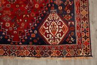 Vintage Geometric Abadeh Tribal Hand-Knotted Area Rug Red Oriental Carpet 5'x8'