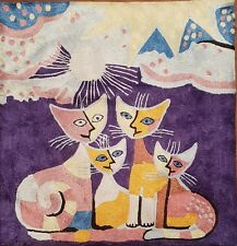 """Silk Cushion Cover from Kashmir Abstract Cat Family Design 18"""" x 18""""."""