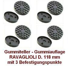 Gummiteller für Hebebühne RAV D. 118 mm mit 3 Befestigungspunkte -Gummiauflagen-