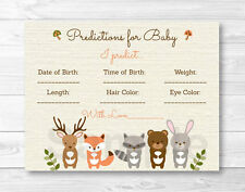 Woodland Forest Animals Baby Shower Baby Predictions Game Cards Printable