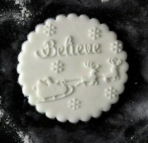 Believe Christmas Embosser, Sleigh Cookie Debosser, Christmas Cookie Stamp