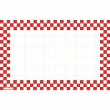 """Hubert White Sign Cardboard With Red Checkerboard Border - 5 1/2""""L x 3 1/2""""H"""
