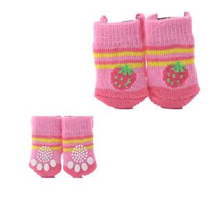 4pcs Warm Puppy Dog Shoes Soft Pet Knits Socks Cute Cartoon Anti Slip Socks