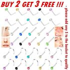 Nose Studs Straight I L Screw Shape Silver Gold Surgical Steel Set Pins Piercing