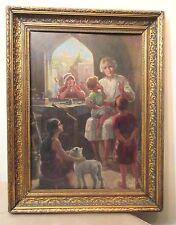 antique gilt wood framed original figural lady children storyteller oil painting