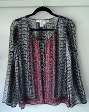 Max Studio Women's Tunic Top, 3/4 or Long Sleeve Black/Gray/Red Blouse, Size XS