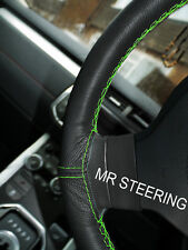 FOR PEUGEOT 207 TRUE LEATHER STEERING WHEEL COVER LIGHT GREEN DOUBLE STITCHING