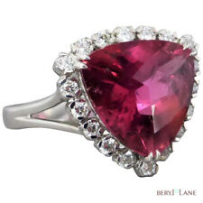 Estate 18K White Gold Pink TOURMALINE & DIAMOND Cluster RING by 'Green G'