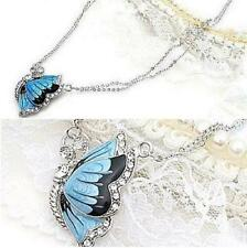 Fashion Charm Crystal Butterfly Pendant Necklace Blue Dual Chain Gift