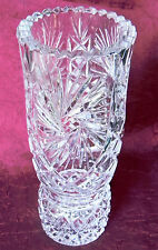 Elegant Clear Lead Crystal Brilliant Cut & Etched Glass 10.5-Inch Vase NICE GIFT