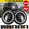 "Pair 7"" 60W Round LED Headlight Halo Angle Eyes For Jeep Wrangler JK LJ TJ CJ"