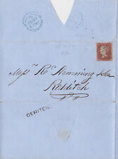 1852 QV BIRMINGHAM SCARCE DERITEND PMK ON COVER WITH A VERY FINE 1d RED STAMP