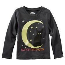 Oshkosh Originals NEW Toddler Girl Glow in the Dark Moon Halloween Tee Black 3T