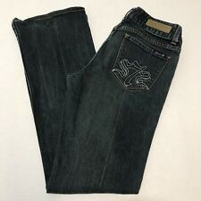 7 Seven 31 x 32 Distressed Dark Wash Embroidered Stretch Womens Jeans