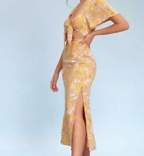 LULUS - Seaport Mustard Yellow Floral Tie Front Dress NWT