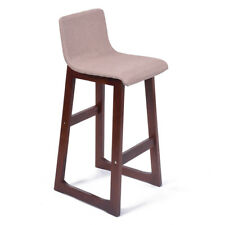 "SET OF 2 MODERN WOOD/FABRIC BEIGE LINEN BARSTOOL - 28.5"" CONTEMPORARY BAR STOOL"