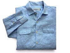 Tommy Bahama Textured Linen Cotton Blend Convertible Sleeves LS Button Shirt M