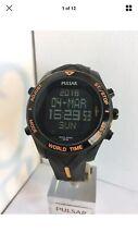 Pulsar Men's Chronograph Alarm Black and Orange Analogue LCD Digital ModelPQ2037